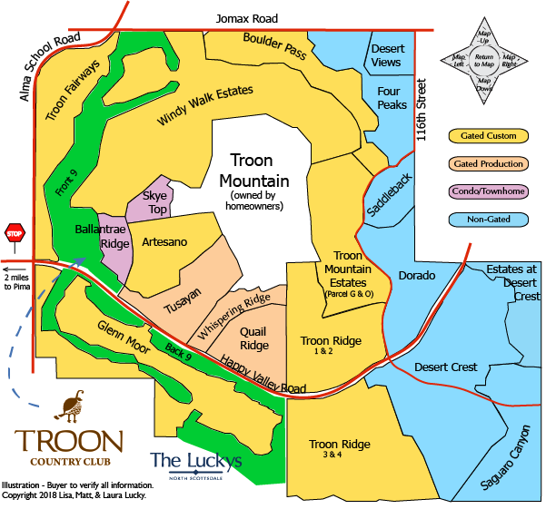 North Scottsdale Real Estate Troon Village Map - The Luckys