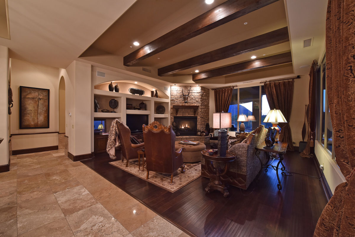 Wood Beamed Ceiling in the Family Room